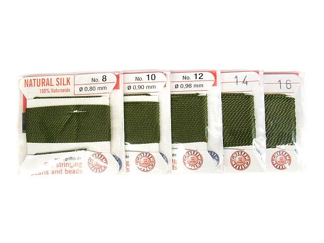 ビーズ天然石グリフィンコード オリーブ 0.8mm〜1.05mm【1コ販売 200円】とパワーストーン