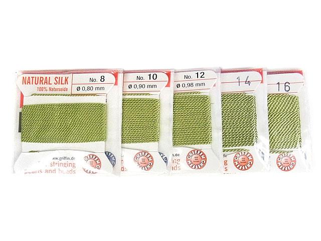 ビーズ天然石グリフィンコード ジェイドグリーン 0.8mm〜1.05mm【1コ販売 200円】とパワーストーン