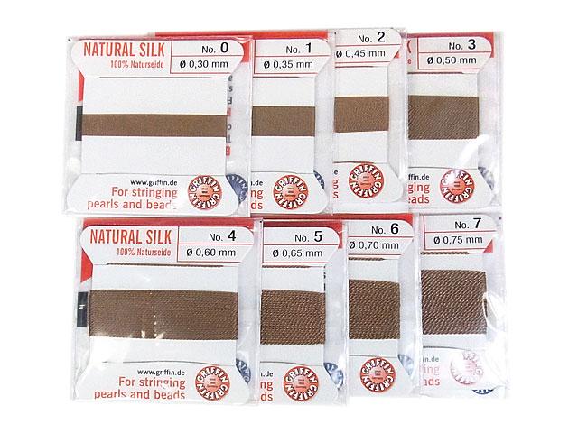 天然石ビーズグリフィンコード ベージュ 0.3mm〜0.75mm【1コ販売 200円】とパワーストーン
