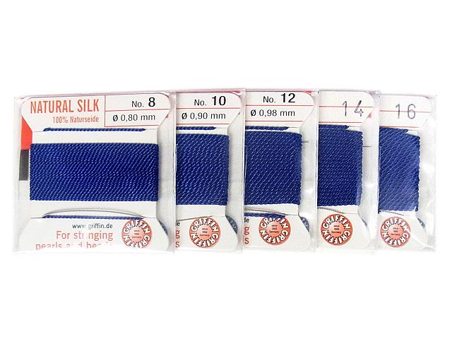 ビーズ天然石グリフィンコード ダークブルー 0.8mm〜1.05mm【1コ販売 200円】とパワーストーン