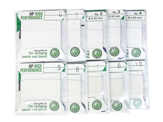 ビーズ天然石グリフィンコード ハイパフォーマンス ホワイト 0.3mm〜0.9mm【1コ販売 250円】とパワーストーン
