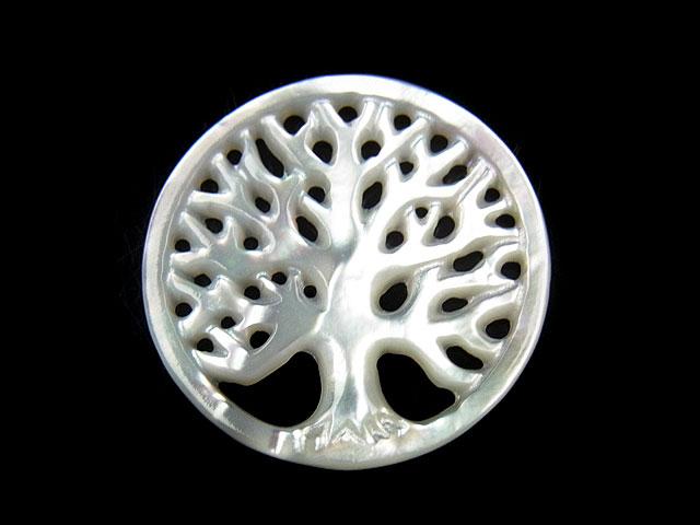ビーズ天然石【粒販売】ホワイトシェル 透かし彫刻コイン 25mm【1コ販売 650円】とパワーストーン