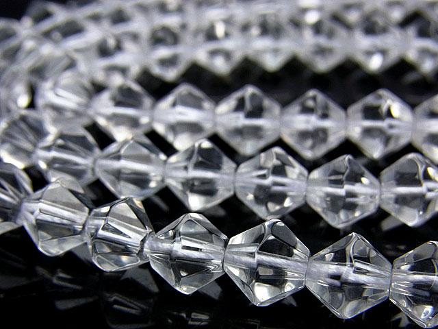 天然石【連販売】天然水晶 クリスタルクォーツ 16面カット 8mm【半連 660円〜】ビーズとパワーストーン
