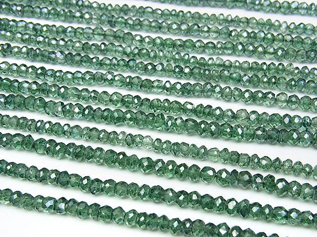 天然石【連販売】グリーンフラッシュクリスタル ボタンカット 4×3mm【半連 660円〜】ビーズとパワーストーン