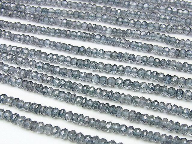 天然石【連販売】シルバーブルーフラッシュクリスタル ボタンカット 4×3mm【半連 660円〜】ビーズとパワーストーン