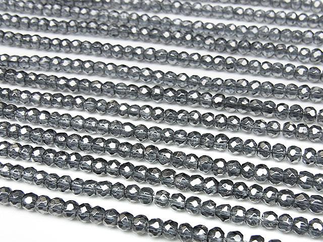 天然石【連販売】シルバーフラッシュクリスタル ボタンカット 4×3mm【半連 880円〜】ビーズとパワーストーン