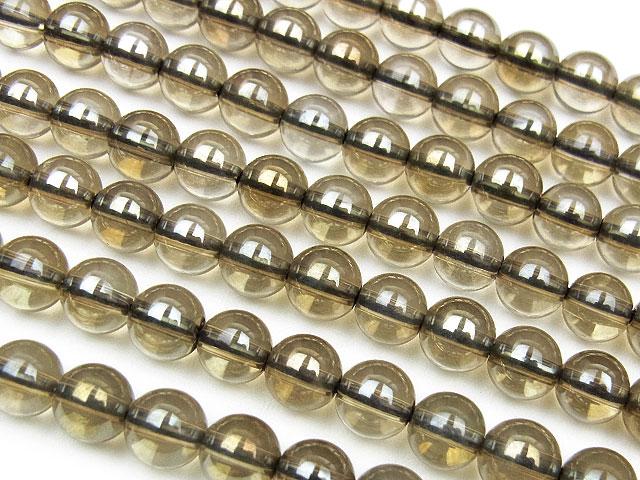 ビーズ天然石【連販売】シャンパンオーラ 丸玉 6mm【半連 1,100円〜】とパワーストーン