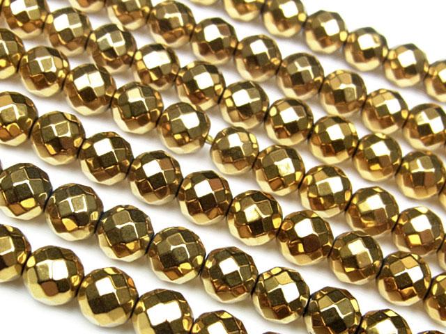 天然石【連販売】ヘマタイト ゴールドメッキコーティング 64面カット 丸玉 6mm【1連 700円】ビーズとパワーストーン