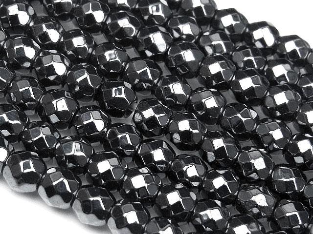天然石【連販売】ヘマタイト[磁気入り] 32面カット 丸玉 4mm【1連 800円】ビーズとパワーストーン