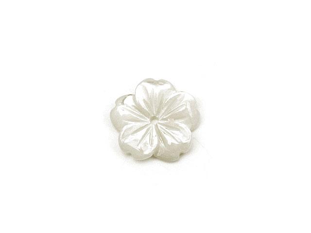 ビーズ天然石【粒販売】ホワイトシェル フラワー 10mm typeG【1コ販売 200円】とパワーストーン