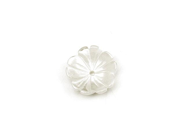 天然石【粒販売】ホワイトシェル フラワー 10mm typeI【1コ販売 200円】ビーズとパワーストーン
