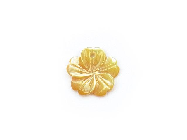 天然石【粒販売】イエローシェル フラワー 10mm typeF【1コ販売 200円】ビーズとパワーストーン