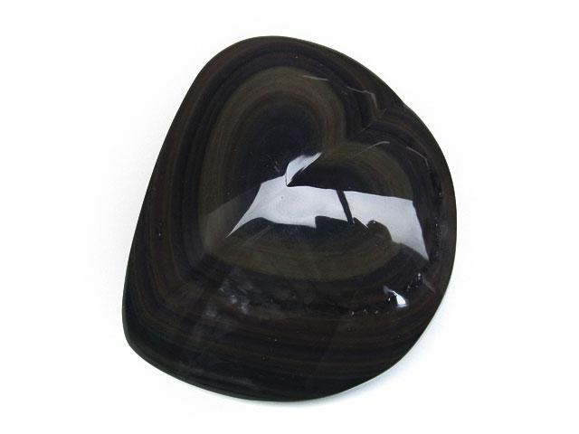 ビーズ天然石レインボーオブシディアン ハートオブジェ No.3【1点もの 12,700円】とパワーストーン