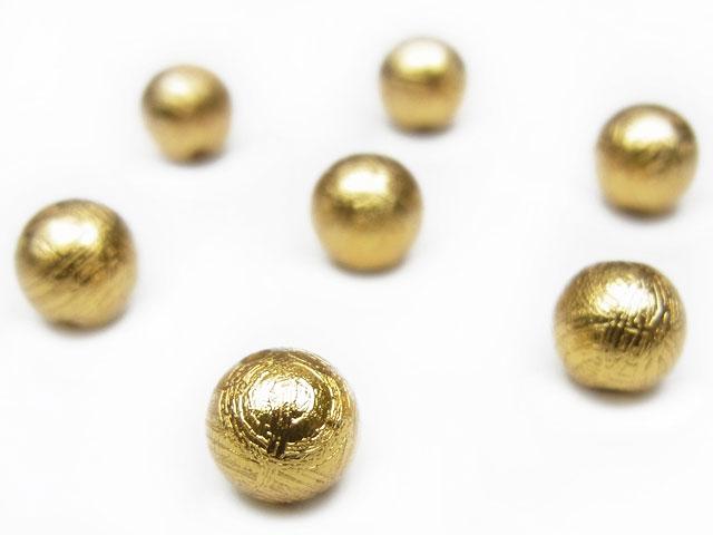 天然石【粒販売】ムオニナルスタ隕石 メテオライト ゴールドカラー 丸玉 6mm【1粒販売 990円】ビーズとパワーストーン