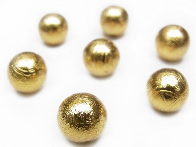 天然石【粒販売】ムオニナルスタ隕石 メテオライト ゴールドカラー 丸玉 8mm【1粒販売 2,160円】ビーズとパワーストーン