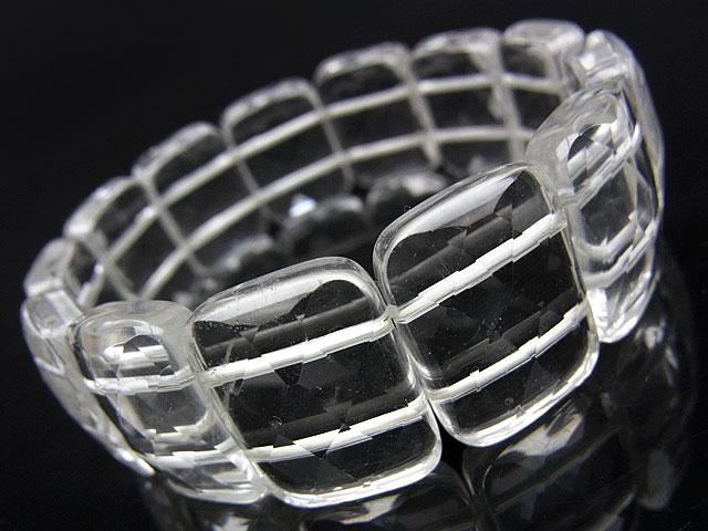 天然石【連販売】天然水晶 クリスタルクォーツ レクタングルカット ブレス 20×15×7mm【1コ販売 2,300円】ビーズとパワーストーン