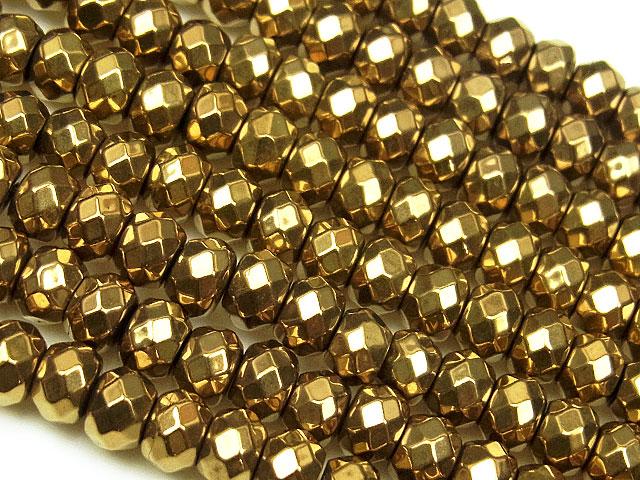 天然石【連販売】ヘマタイト ゴールドメッキコーティング ボタンカット 4×3mm[磁気入り]【1連 1,000円】ビーズとパワーストーン