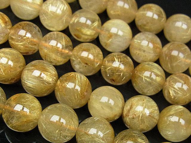 ビーズ天然石【連販売】ルチルクォーツ 丸玉 10mm【半連 19,690円〜】とパワーストーン
