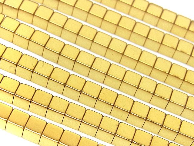 天然石【連販売】ヘマタイト ゴールドメッキコーティング キューブ 3mm【1連 600円】ビーズとパワーストーン