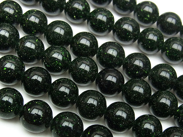 天然石【連販売】グリーンゴールドストーン 丸玉 8mm【1連 700円】ビーズとパワーストーン