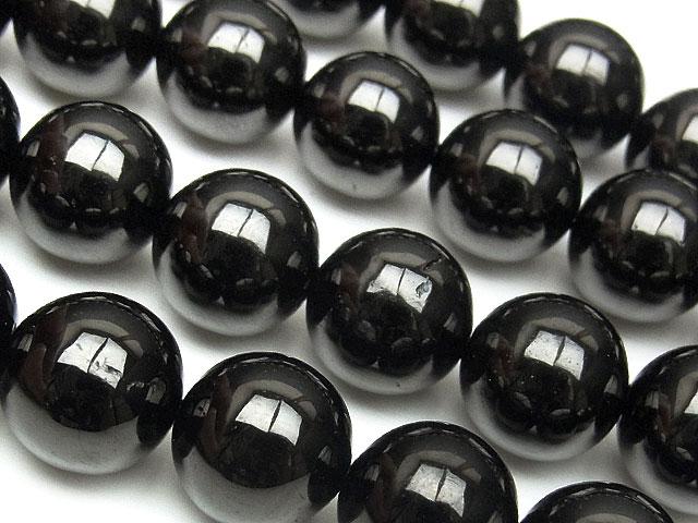 天然石【連販売】ジェット 丸玉 12mm【1連 1,200円】ビーズとパワーストーン