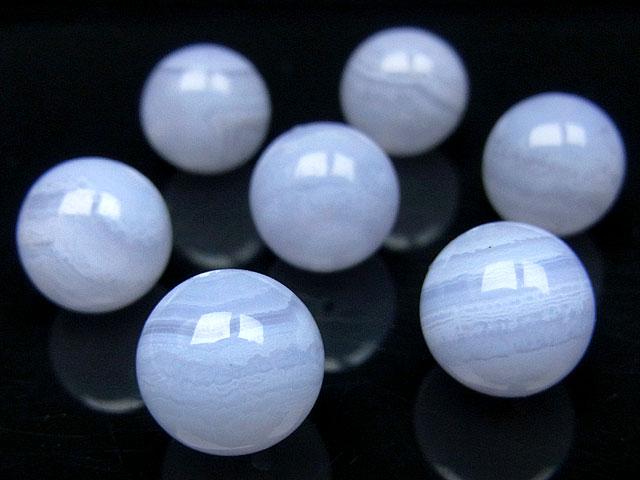天然石【粒販売】ブルーレースカルセドニー 丸玉 10mm【2粒販売 360円】ビーズとパワーストーン