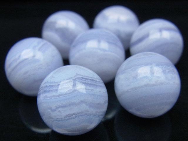 天然石【粒販売】ブルーレースカルセドニー 丸玉 14mm【2粒販売 680円】ビーズとパワーストーン