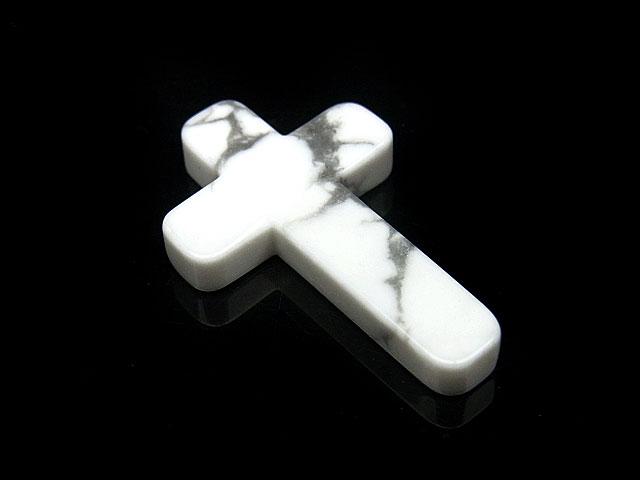 天然石【粒販売】ハウライト 十字架 29×18×4mm[片穴]【1コ販売 390円】ビーズとパワーストーン