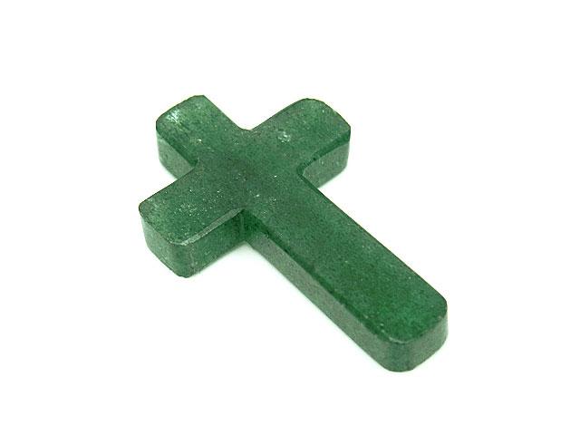 天然石【粒販売】インド産 グリーンアベンチュリン(ヒマラヤアベンチュリン) 十字架 29×18×4mm[片穴]【1コ販売 390円】ビーズとパワーストーン