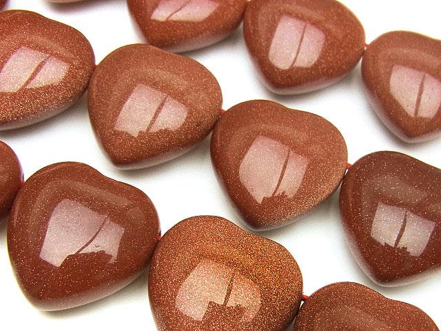 天然石【連販売】ゴールドストーン ハート 20×11mm[横穴]【半連 880円〜】ビーズとパワーストーン