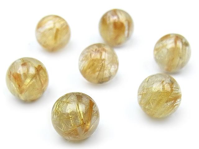 天然石【粒販売】ルチルクォーツ 丸玉 8mm【3粒販売 1,920円】ビーズとパワーストーン
