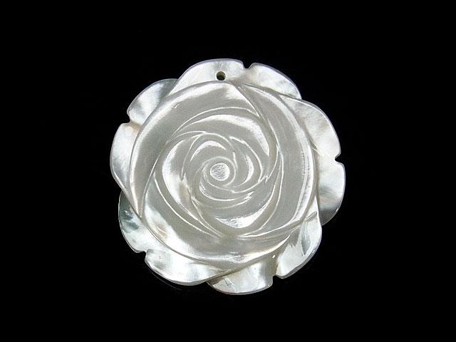 ビーズ天然石【粒販売】ホワイトシェル 薔薇 30mm【1粒販売 600円】とパワーストーン