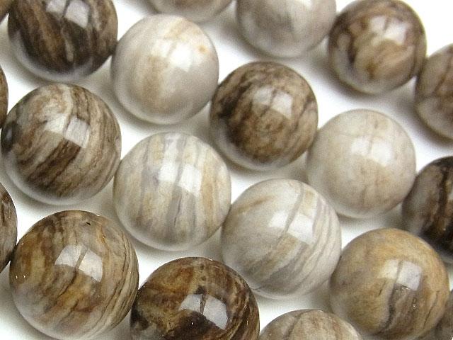 天然石【連販売】シルバーリーフジャスパー 丸玉 14mm【半連 720円〜】ビーズとパワーストーン
