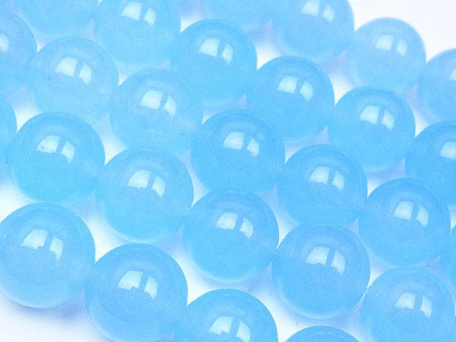 天然石【連販売】ライトブルーカラージェード 丸玉 10mm【1連 700円】ビーズとパワーストーン