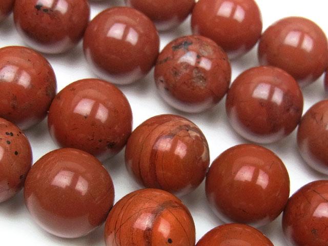 天然石【連販売】レッドジャスパー 丸玉 12mm【半連 660円〜】ビーズとパワーストーン