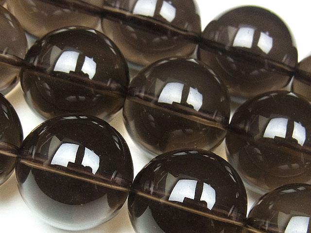 天然石【連販売】スモーキークォーツ 丸玉 16mm【半連 1,540円〜】ビーズとパワーストーン