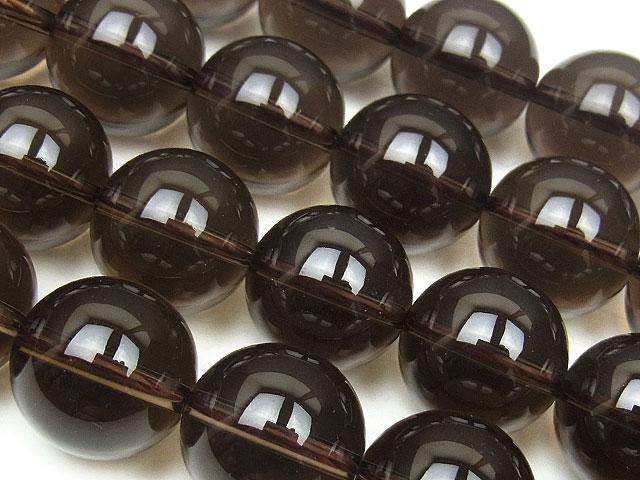 天然石【連販売】スモーキークォーツ 丸玉 14mm【半連 1,210円〜】ビーズとパワーストーン
