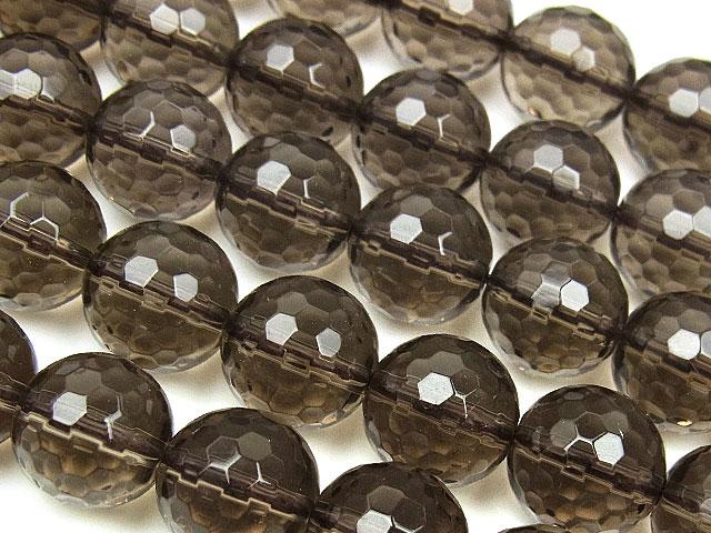 天然石【連販売】スモーキークォーツ 128面カット 丸玉 10mm【半連 880円〜】ビーズとパワーストーン