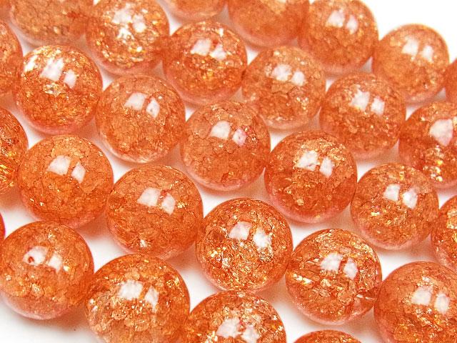 天然石【連販売】オレンジクラッククリスタル 丸玉 10mm【1連 900円】ビーズとパワーストーン