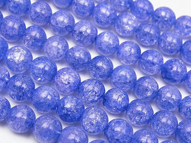 天然石【連販売】ブルーパープルクラッククリスタル 丸玉 6mm【1連 600円】ビーズとパワーストーン