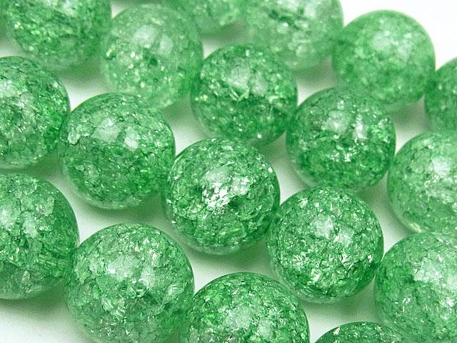 天然石【連販売】グリーンクラッククリスタル 丸玉 12mm【1連 1,100円】ビーズとパワーストーン