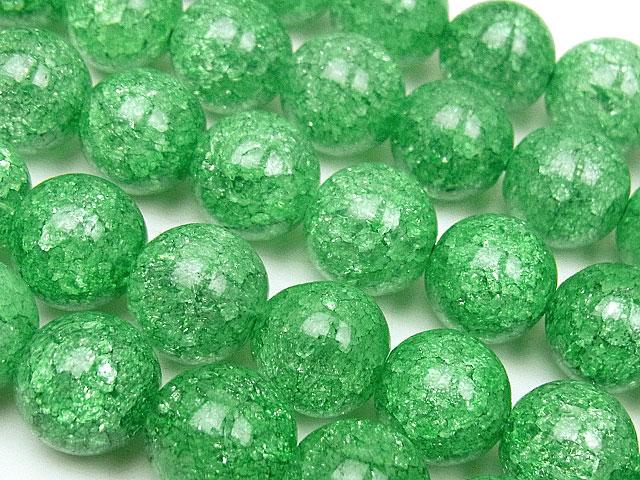 天然石【連販売】グリーンクラッククリスタル 丸玉 10mm【1連 900円】ビーズとパワーストーン