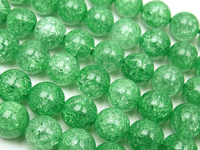 天然石【連販売】グリーンクラッククリスタル 丸玉 8mm【1連 700円】ビーズとパワーストーン