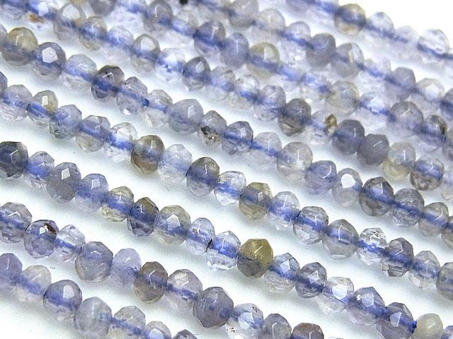 天然石【連販売】アイオライト ボタンカット 3×2mm【半連 880円〜】ビーズとパワーストーン