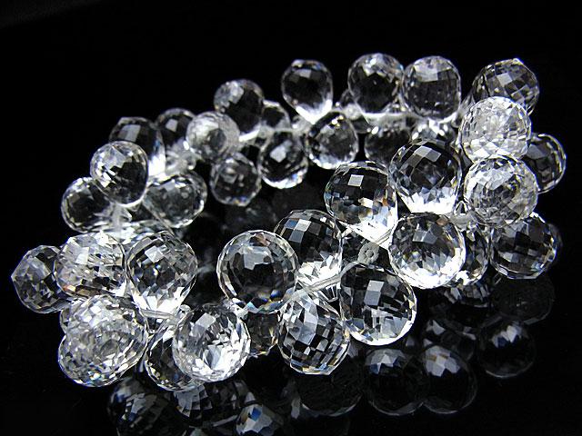 天然石【連販売】天然水晶 クリスタルクォーツ ドロップカットブレス 14×10mm[プレミアムカット]【1コ販売 7,800円】ビーズとパワーストーン